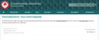 Isparta'da üniversitelilerin final sınavları için 1'er saatlik erteleme kararı