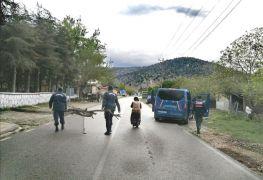 Jandarma odun taşımakta zorlanan yaşlı kadının imdadına yetişti