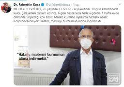 Sağlık Bakanı Koca, Ispartalı muhtarı paylaşıp, örnek gösterdi